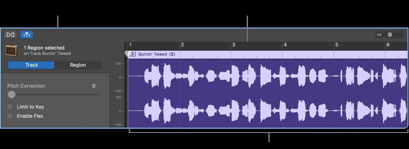 Éditeur audio avec une région sélectionnée.
