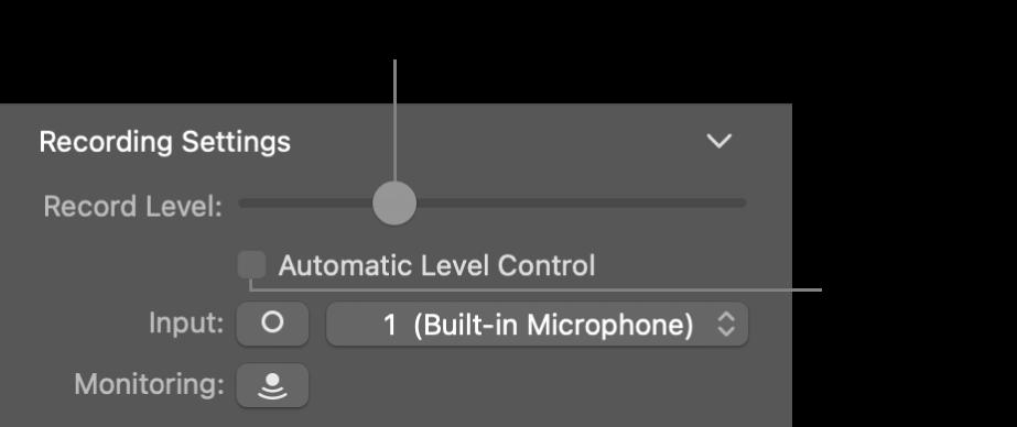 Curseur Niveau d'enregistrement et case Contrôle de niveau automatique dans l'inspecteur Smart Controls.