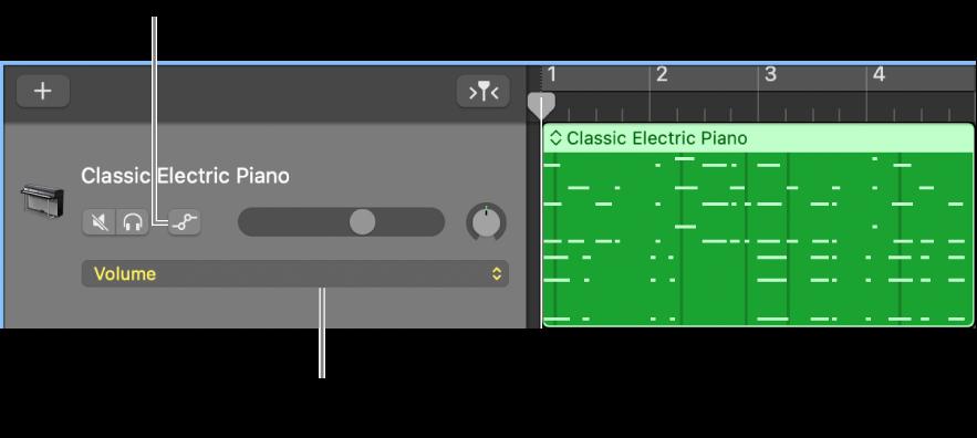 Bouton Automation de piste et menu local Paramètres de l'Automation dans un en-tête de piste.