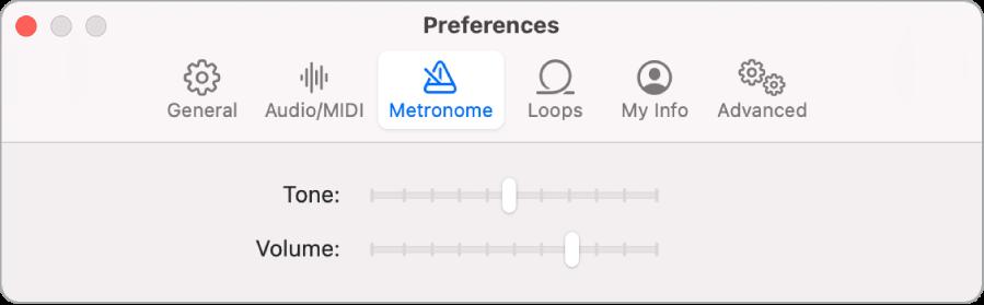 Préférences du métronome.