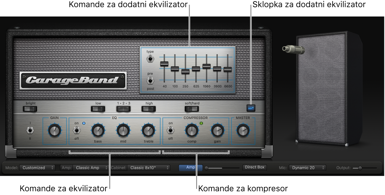 Bass Amp Designer s EQ i Compressor kontrolama.
