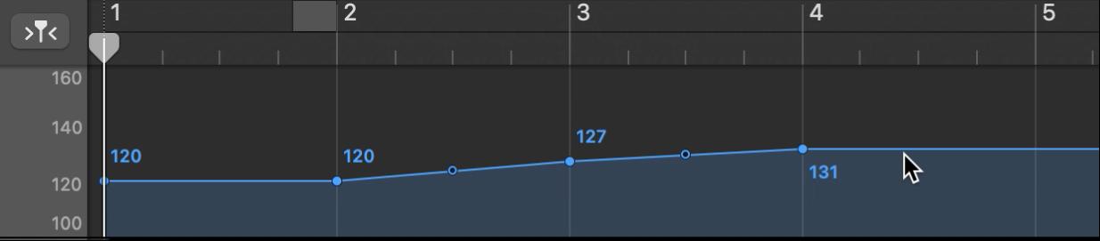 Track Tempo menampilkan penambahan titik kontrol tempo.