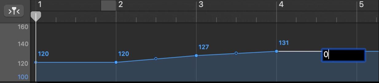 Track Tempo menampilkan pengaturan titik kontrol tempo secara numerik.