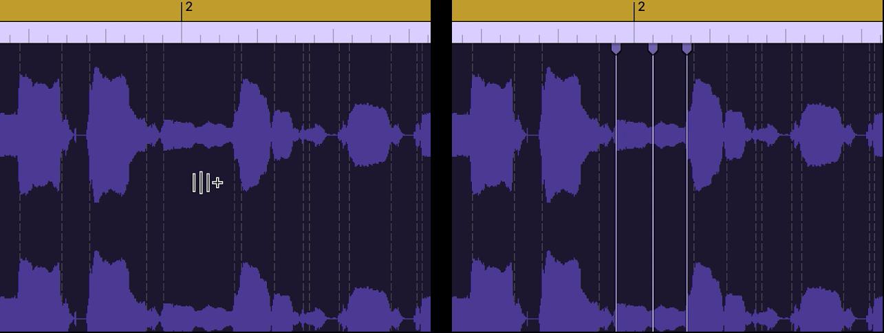 Regione audio che mostra la creazione di un marcatore Flex sopra un marcatore transiente.