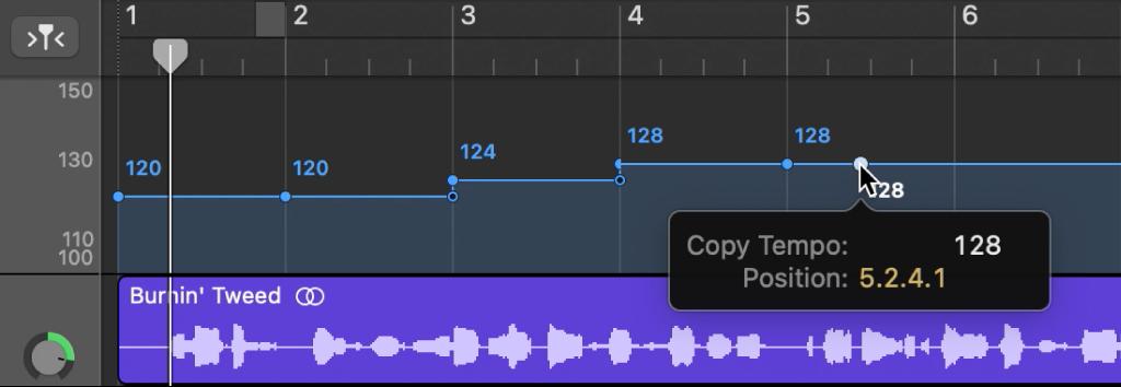 Traccia ritmo, con Opzione-trascinamento per copiare un punto di controllo ritmo.