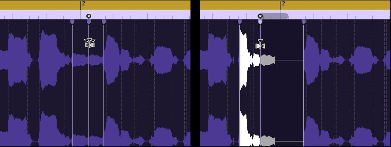 Due regioni audio che mostrano la regione prima e dopo che un marcatore Flex è stato spostato a sinistra e si sovrappone al marcatore Flex precedente.