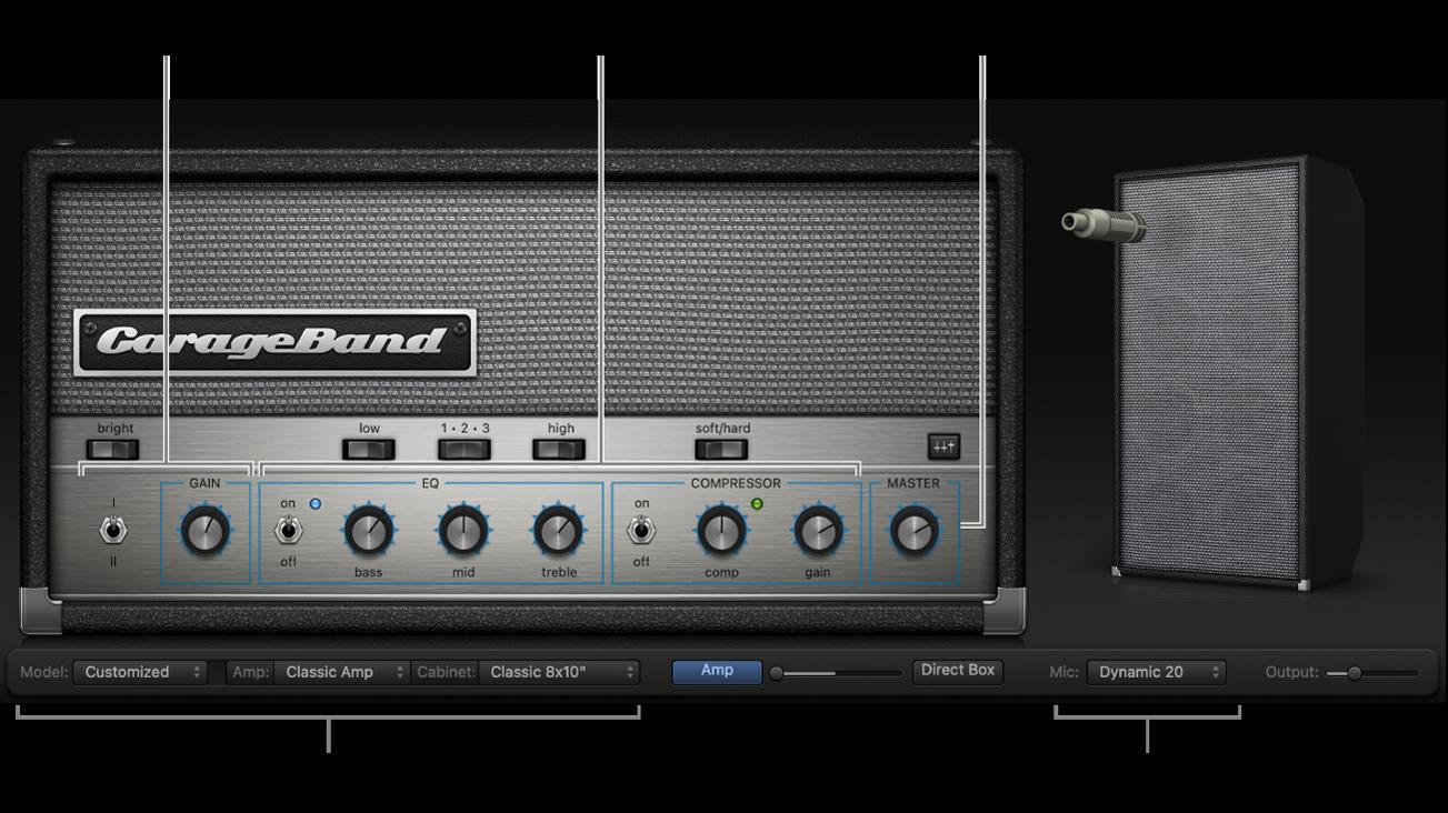 Finestra Bass Amp Designer, che mostra diverse aree di controllo.