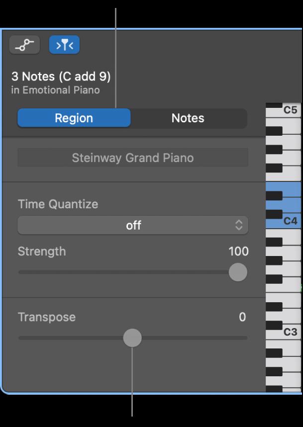 """Inspector """"Editor Piano roll"""", con pannello Regione e cursore Trasponi."""
