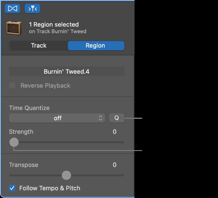 """Inspector """"Editor audio"""", con il menu a comparsa """"Quantizza tempo"""" e il cursore Potenza."""