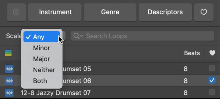 Mostra il menu a comparsa Scala nel Browser loop.