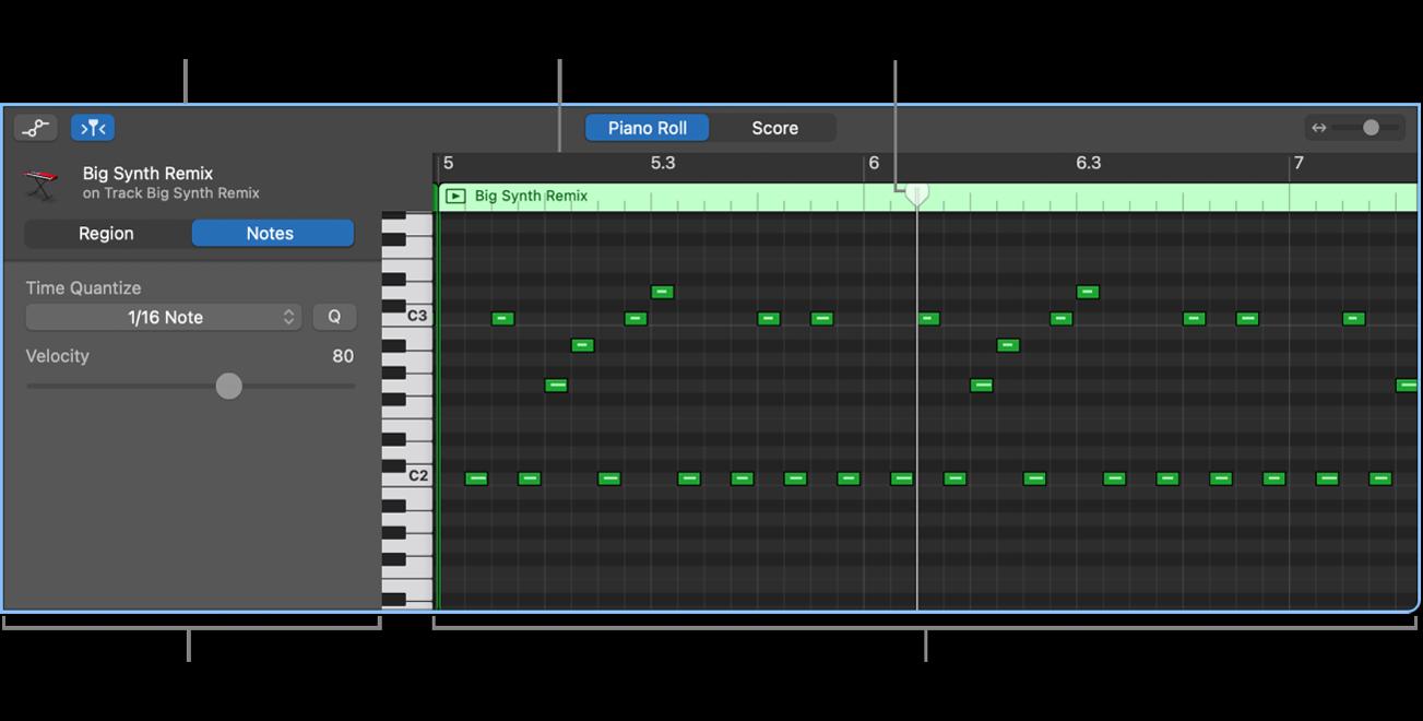 ピアノ・ロール・エディタ。MIDIノートイベントを指しています。