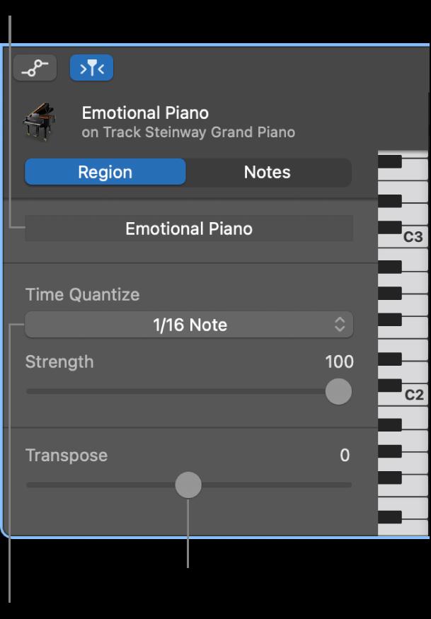 リージョンモードのピアノ・ロール・エディタ・インスペクタのコントロール。