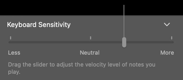 Smart Controlインスペクタの「キーボードの感度」スライダ。