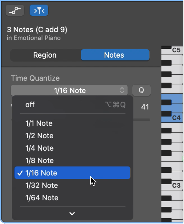 피아노 롤 편집기 속성의 시간 퀀타이즈 팝업 메뉴에서 값 선택하기.