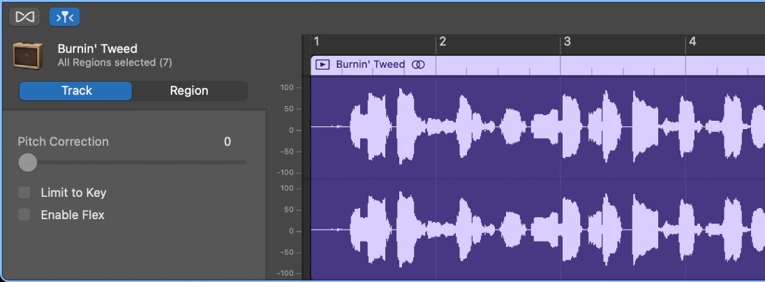 트랙 제어를 표시하는 오디오 편집기 속성.