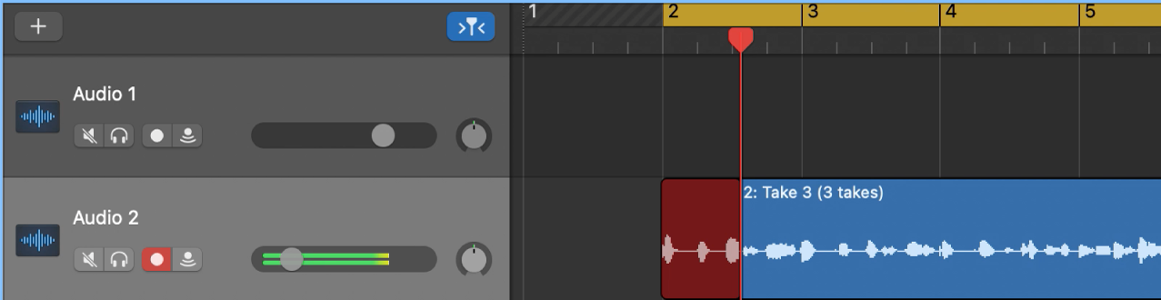 트랙 영역에 테이크 폴더 녹음 표시.