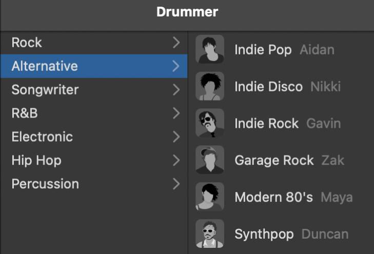 Memilih genre dalam Editor Drummer.