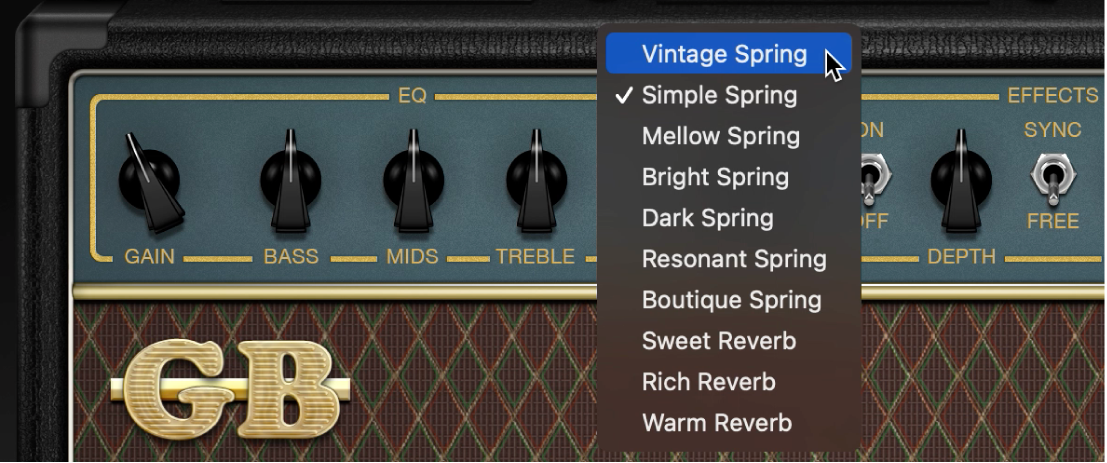 Amp Designer met menu 'Reverb' en de regelaars 'Tremolo' en 'Vibrato'.