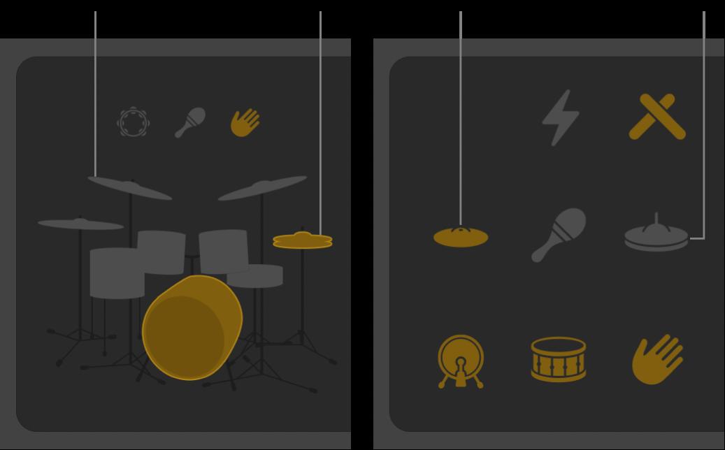 Drummer-editor met onderdelen van het drumstel waarvan het geluid is in- en uitgeschakeld.
