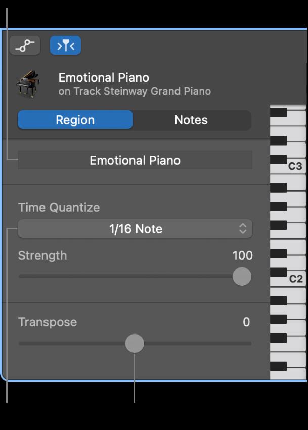 Infovenster van de pianorol-editor in de segmentmodus, met regelaars.