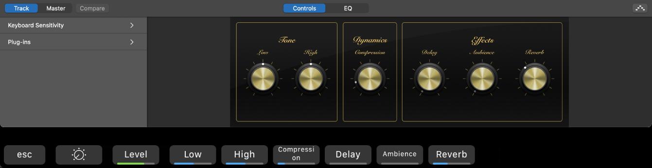 Afbeelding. De Smart Controls voor een spoor voor een software-instrument en dynamische toetscombinaties in het Smart Controls-scherm.