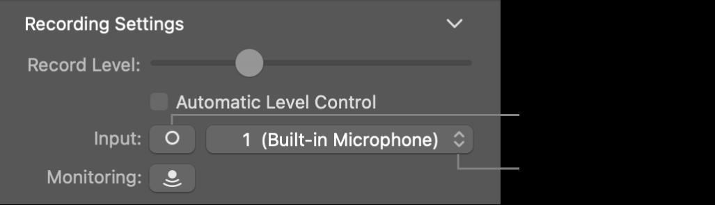 Invoerknop en venstermenu 'Invoer' in het infovenster voor Smart Controls.