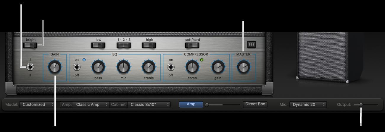 Bass Amp Designer-versterkerregelaars, waaronder Bright-schakelaar, Gain-knop, Channel I- en II-schakelaar en Master-knop.