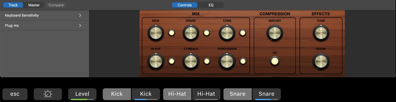 Afbeelding. De Smart Controls voor een Drummer-spoor en dynamische toetscombinaties in het Smart Controls-scherm.