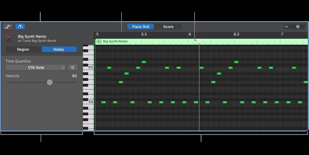 Pianorol-editor met event voor MIDI-noot.