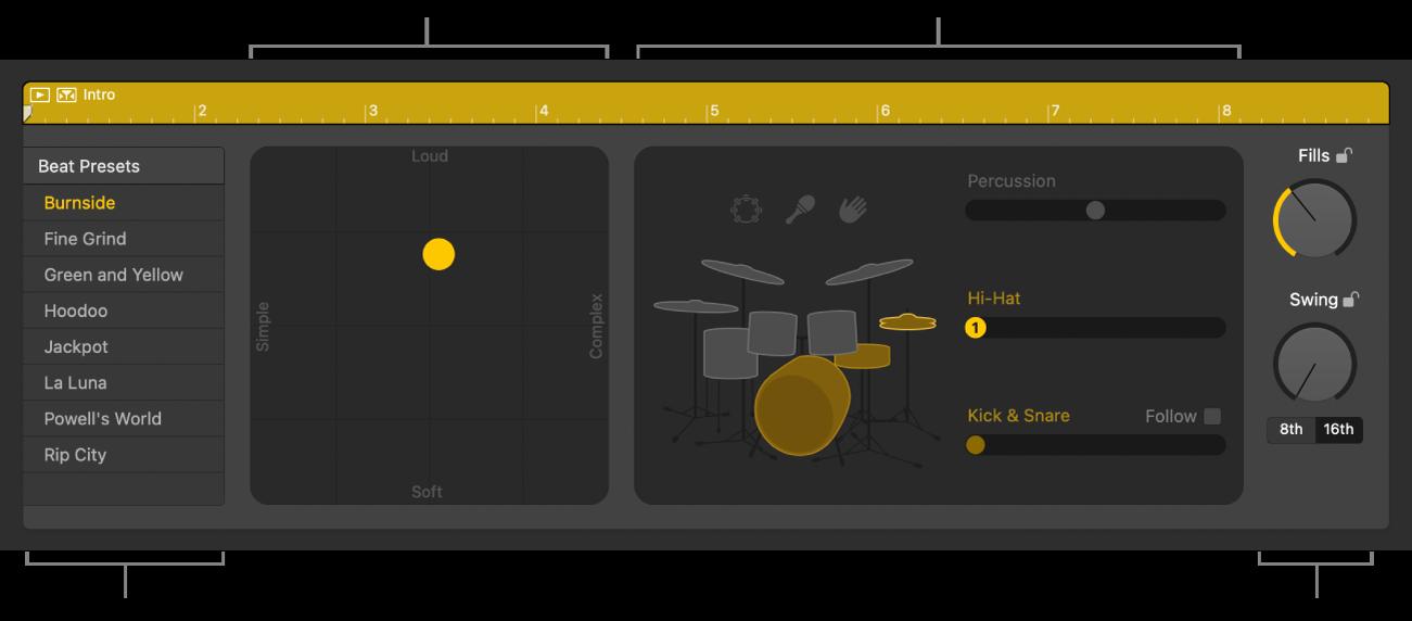 Drummer-redigerer som viser forskjellige områder.
