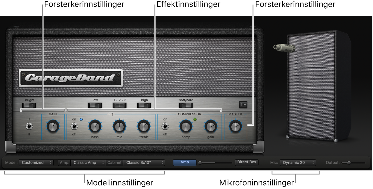 Bass Amp Designer-vindu som viser ulike kontrollområder.