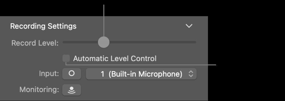 Suwak Poziom nagrywania oraz pole wyboru Automatyczna kontrola poziomu winspektorze narzędzi Smart Controls.