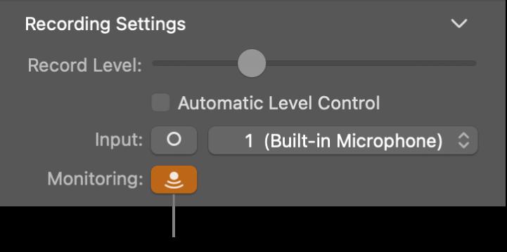 Przycisk Odsłuchiwanie wejścia winspektorze narzędzi Smart Controls.