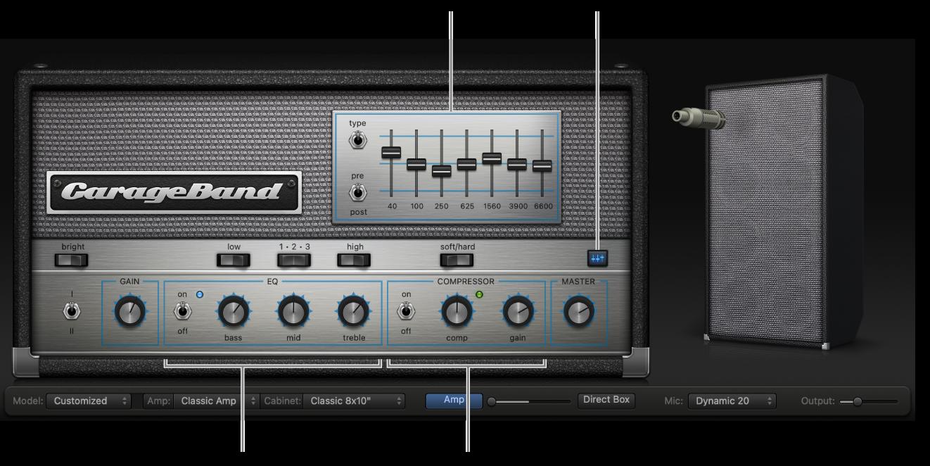 Bass Amp Designer znarzędziami korektora dźwięku ikompresora.