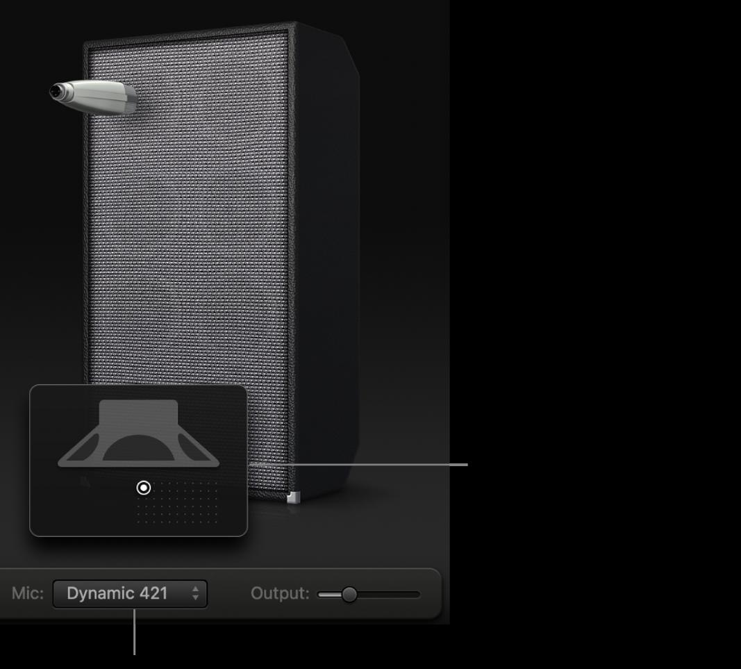 Obszar kolumny Bass Amp Designer zmenu Mikrofon isiatką rozmieszczenia mikrofonu.