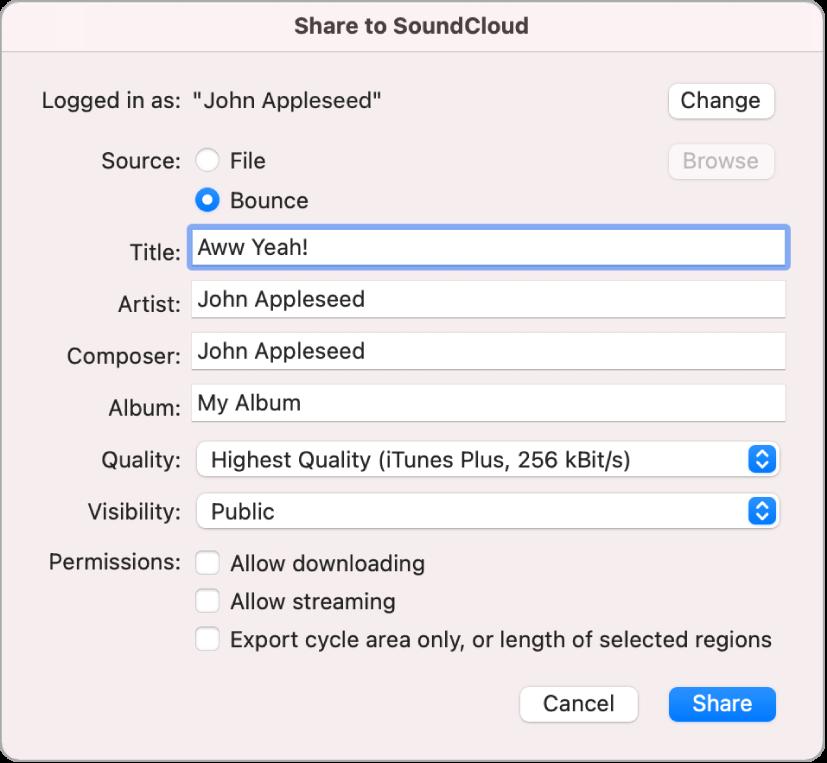 Caixa de diálogo Compartilhar via SoundCloud.
