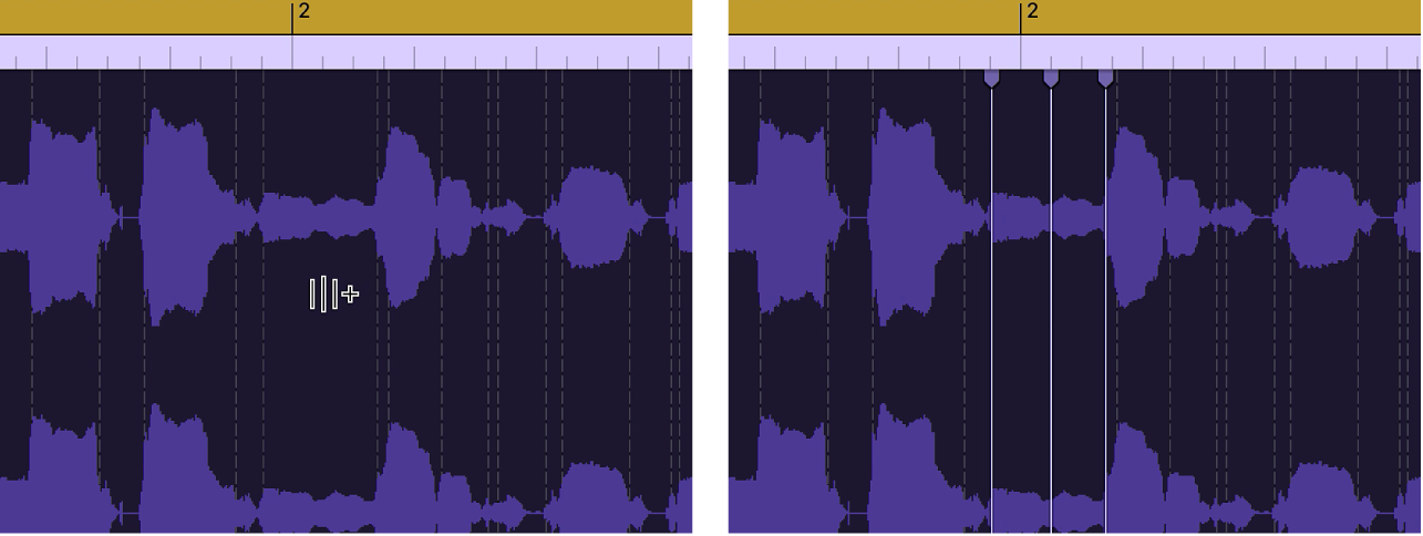 Аудиорегион с отображением создания маркера Flex поверх маркера перехода.