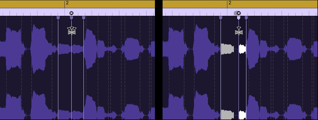 Два аудиорегиона, иллюстрирующих состояние региона до и после перемещения маркера Flex влево.
