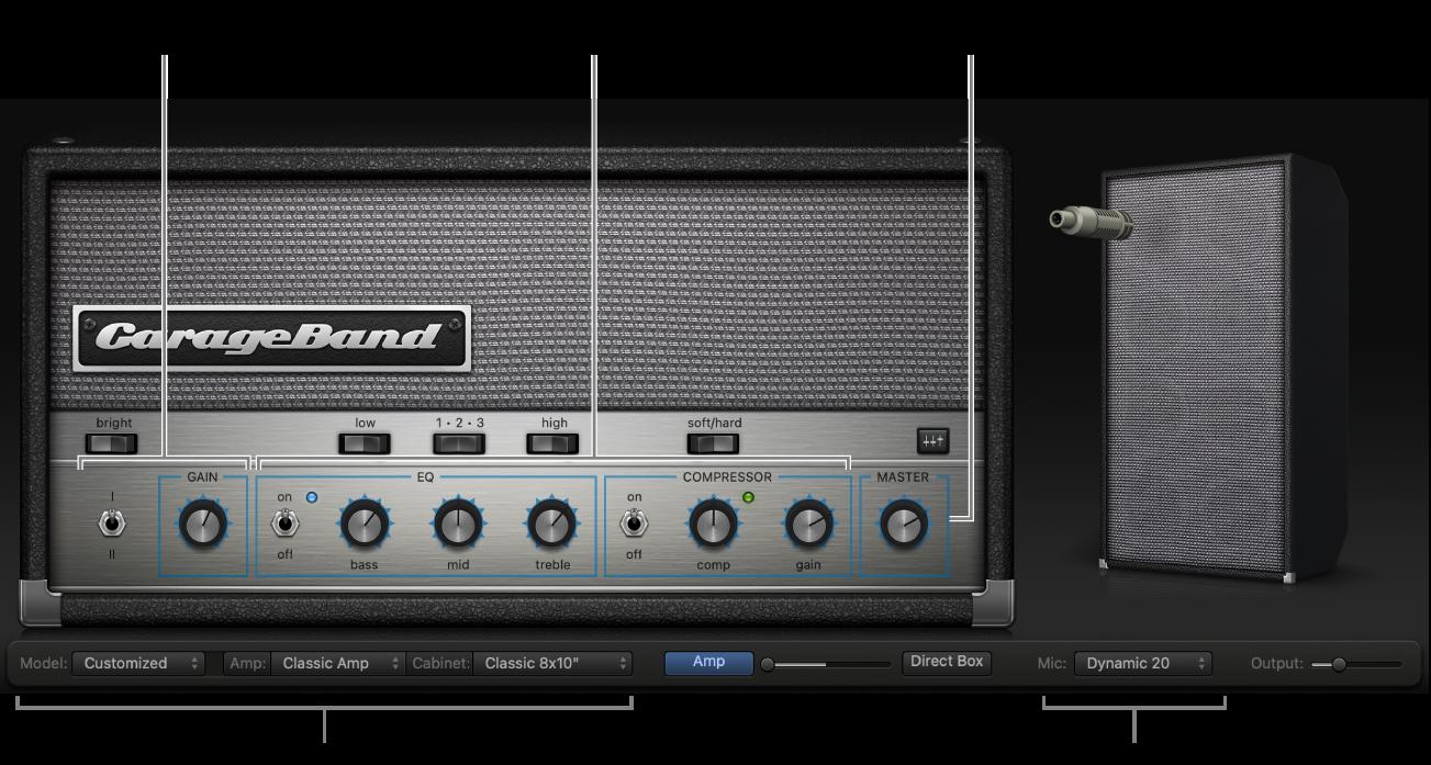 Окно Bass Amp Designer с другими областями управления.