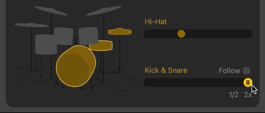 Editor Drummera znázorňujúci polovičné alebo dvojnásobné časové variácie.