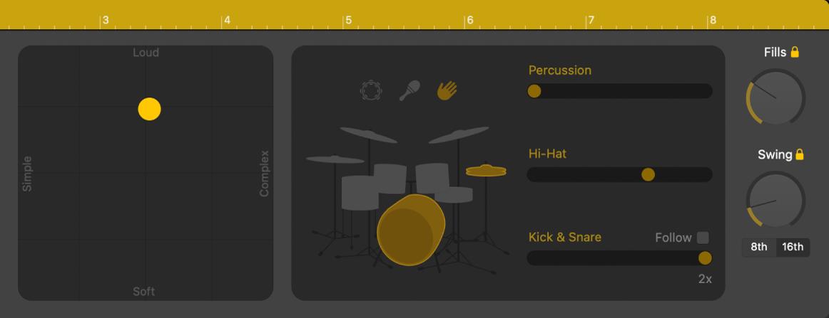 Editor Drummera znázorňujúci ovládacie prvky predvedenia.