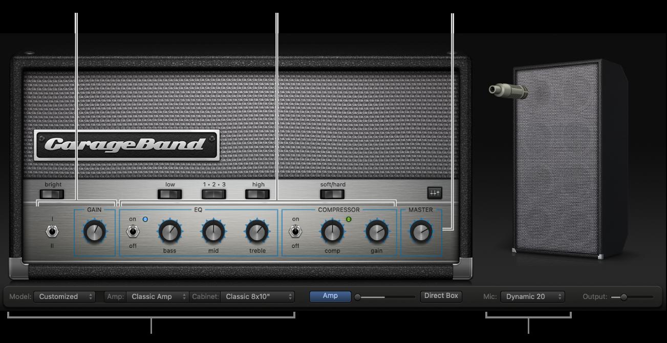 หน้าต่าง Bass AmpDesigner แสดงพื้นที่ควบคุมต่างๆ