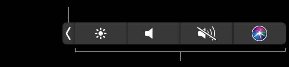 ภาพ Control Strip ของ Touch Bar