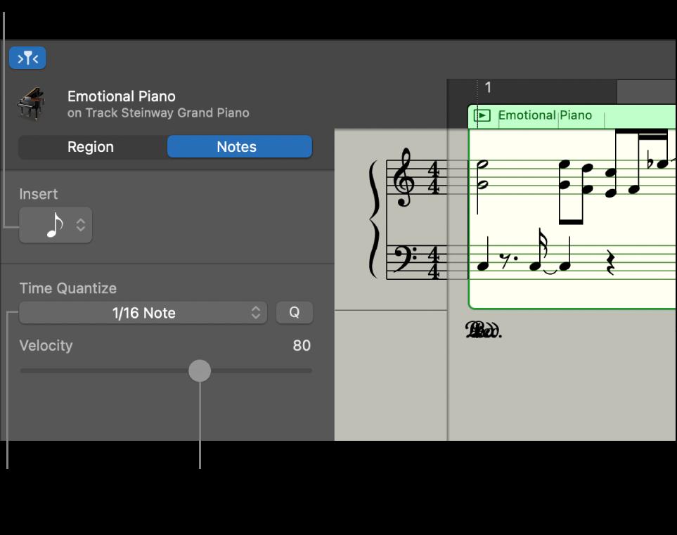 Інспектор редактора партитур у режимі «Ноти» з елементами керування.