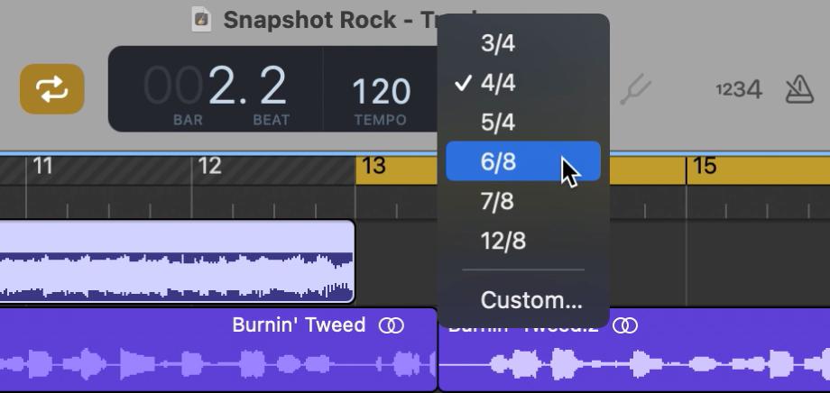 Вибір нового музичного розміру зі спливного меню на РК-екрані