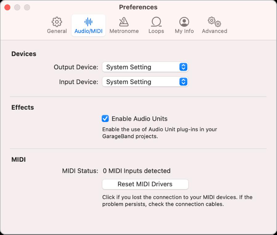 Tùy chọn Âm thanh/MIDI.