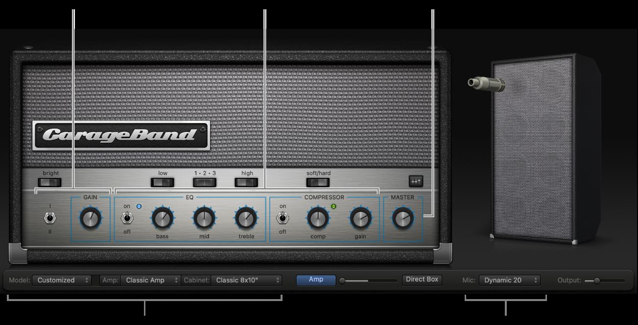 Cửa sổ Bass Amp Designer, hiển thị các khu vực điều khiển khác nhau.