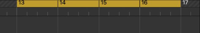 Thước ô nhịp với khu vực tuần hoàn giữa bộ định vị bên trái và bên phải.