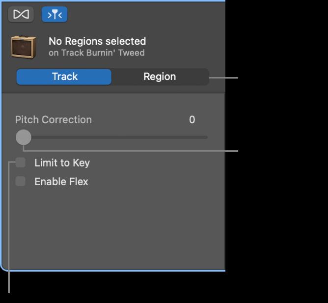 """""""轨道""""模式中显示""""音高修正""""滑块和""""限制调""""复选框的""""音频编辑器""""检查器。"""
