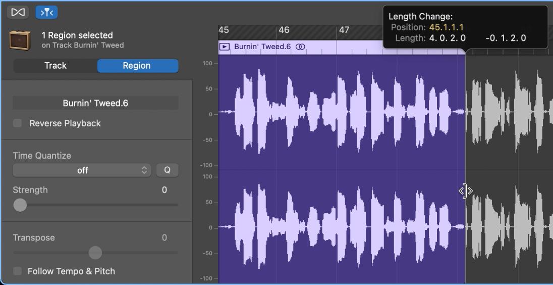 在「音訊編輯器」中裁剪區段,顯示「裁剪」指標和「輔助」標記。